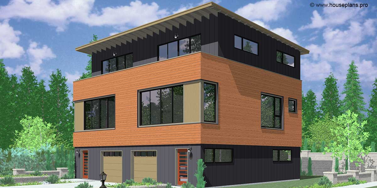 Modern style triplex plans joy studio design gallery for Triplex plans one story