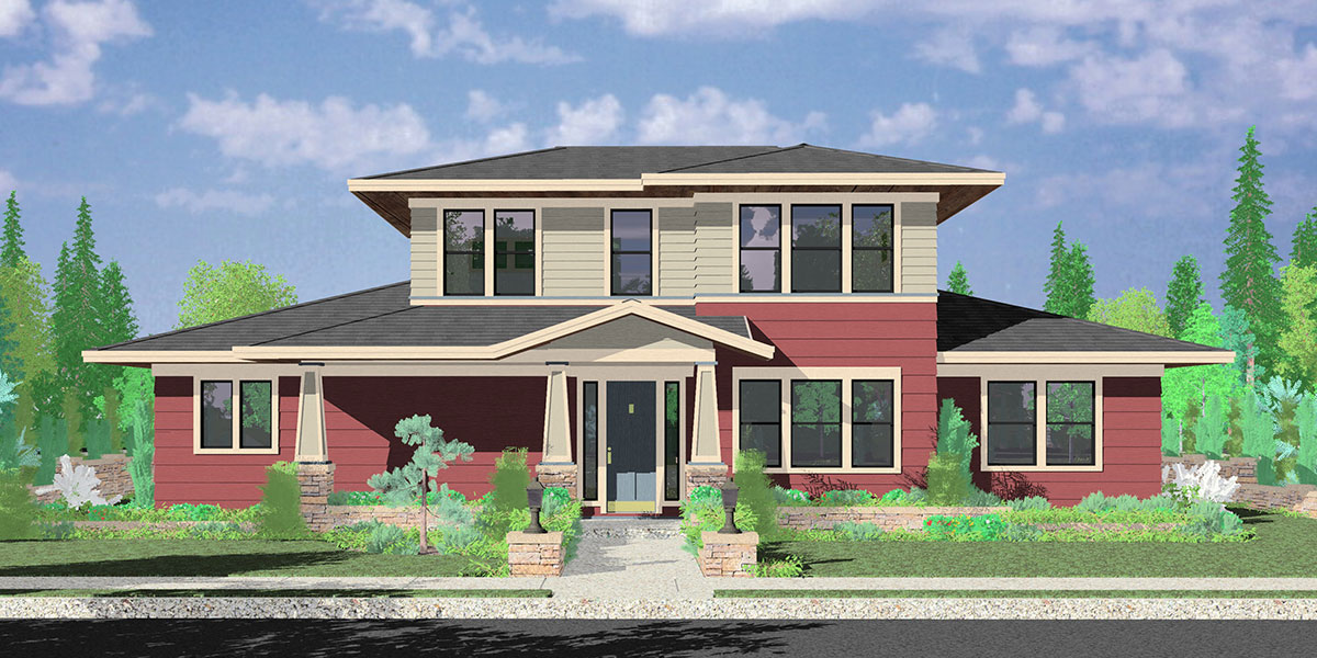 House plans duplex triplex custom building design firm for Prairie house designs