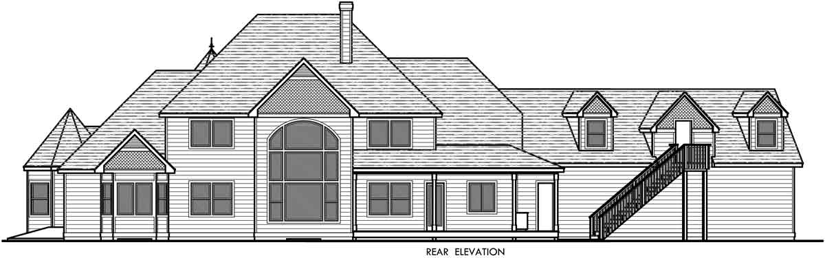 House side elevation view for 10067 Victorian House Plans, Country Kitchen House Plans, Bonus Room Over Garage