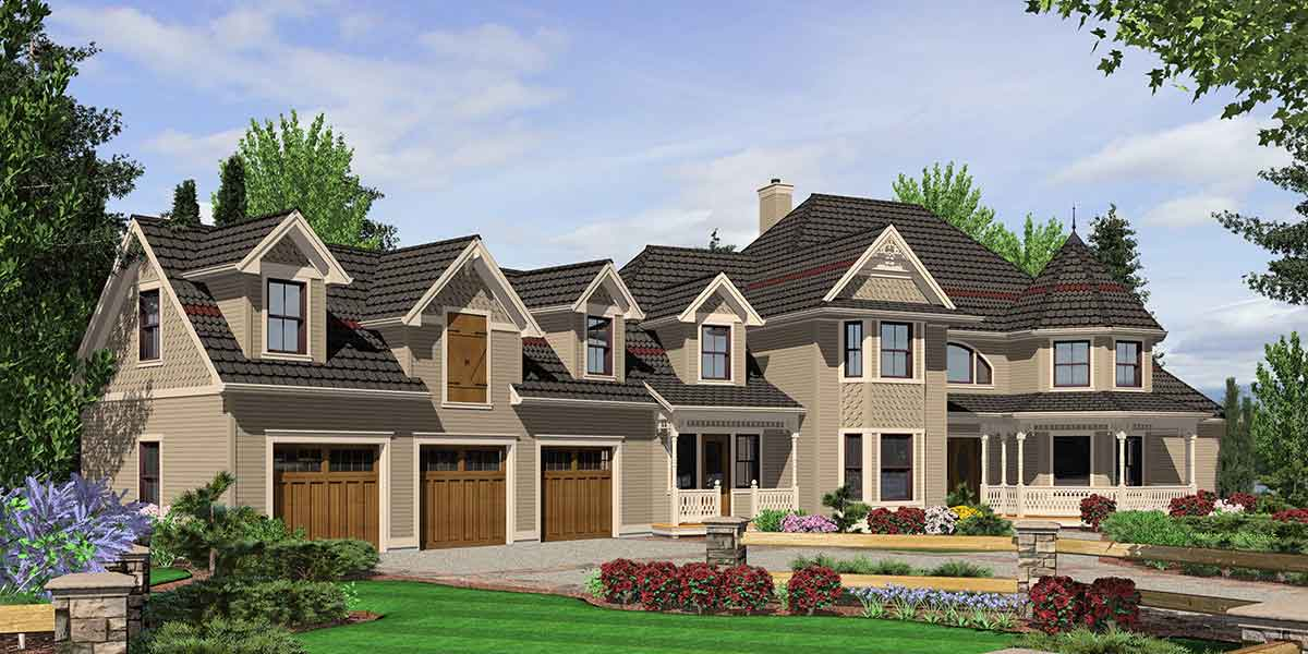 Farm house plans and farm style home designs for country for One story house plans with bonus room above garage
