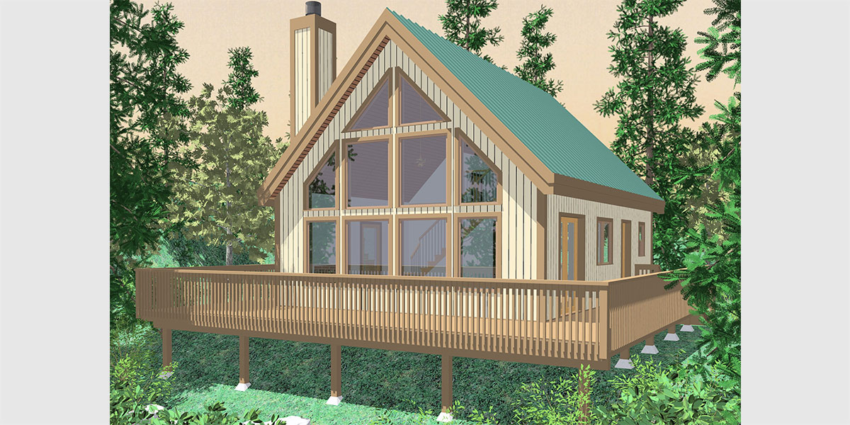 A frame house plans with steep rooflines for Small timber frame house plans