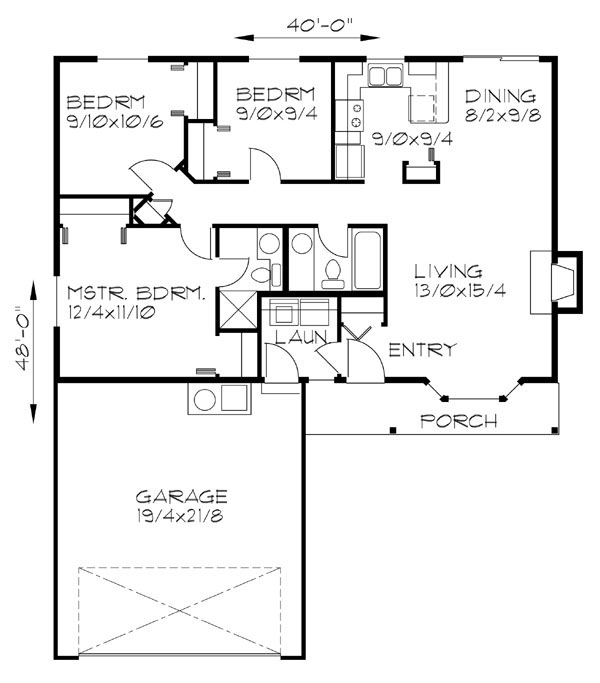 main floor plan for 122 one level 3 bedroom 2 bath 2 car garage