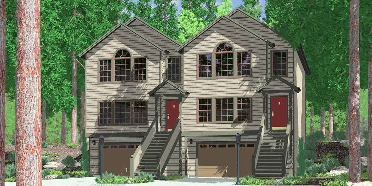 D-525 Row house plans with garage, duplex house plans, D-525