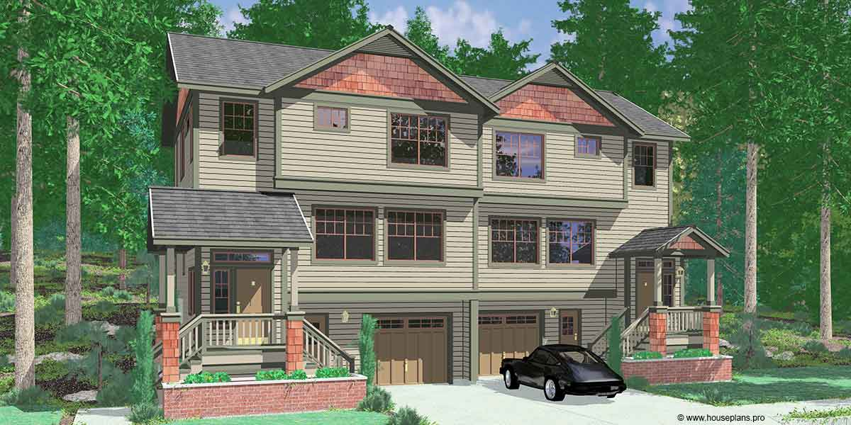 Craftsman duplex house plans sloping lot duplex house plans for Building a garage on a sloped lot