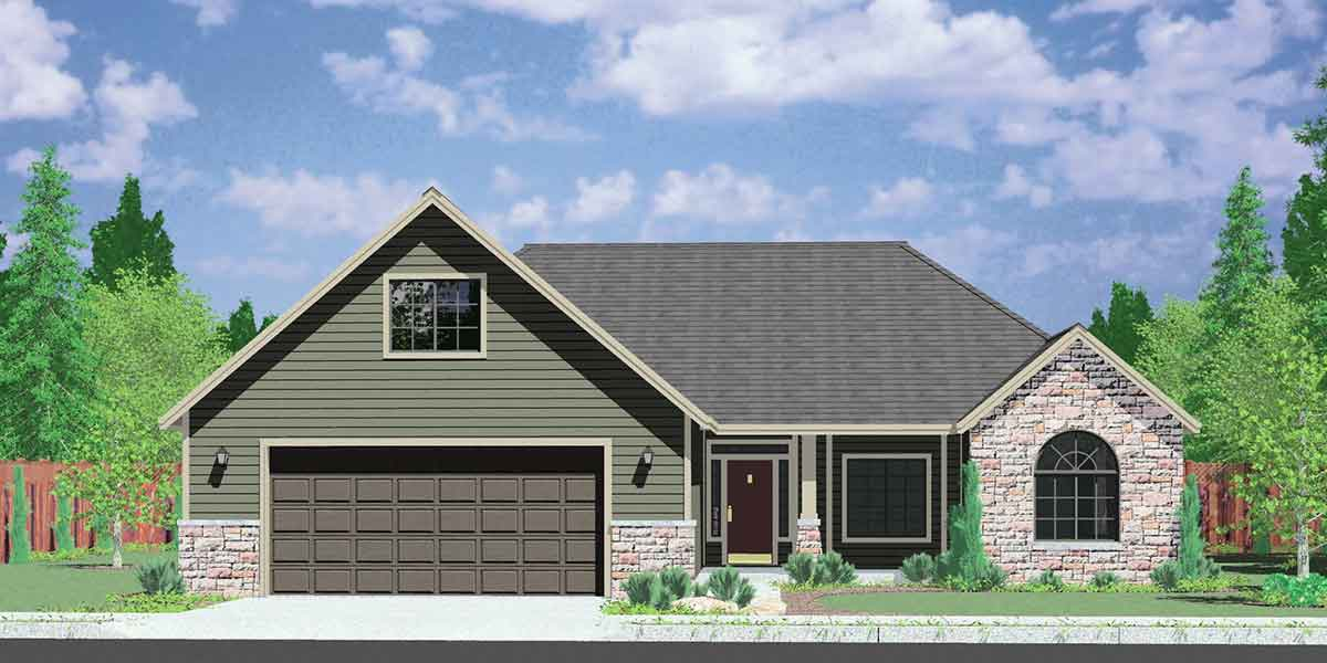 One story house plans house plans with bonus room over for Single story house plans with 3 car garage