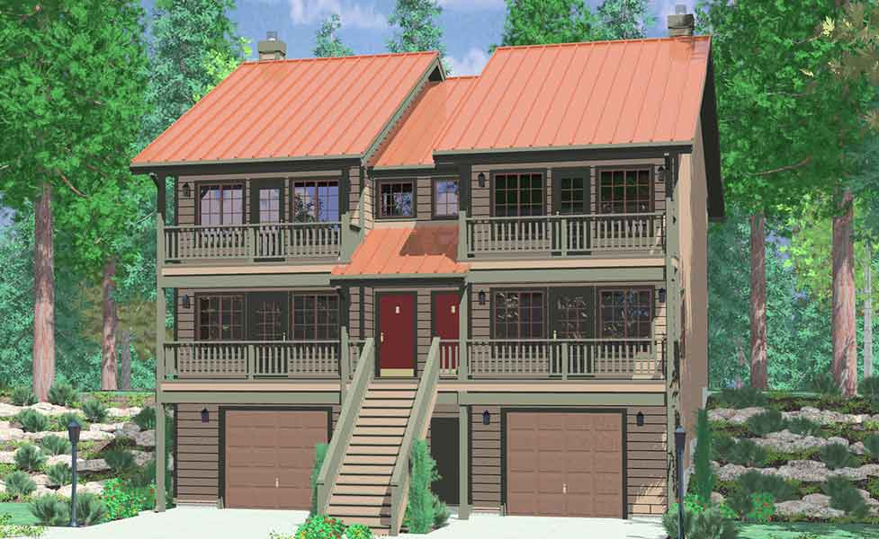 Narrow lot duplex house plans narrow and zero lot line for 3 story home plans and designs