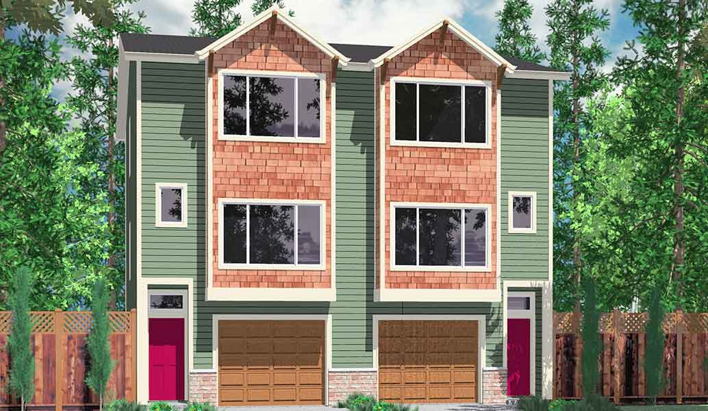 Hillside home plans with basement sloping lot house plans for Small townhouse plans