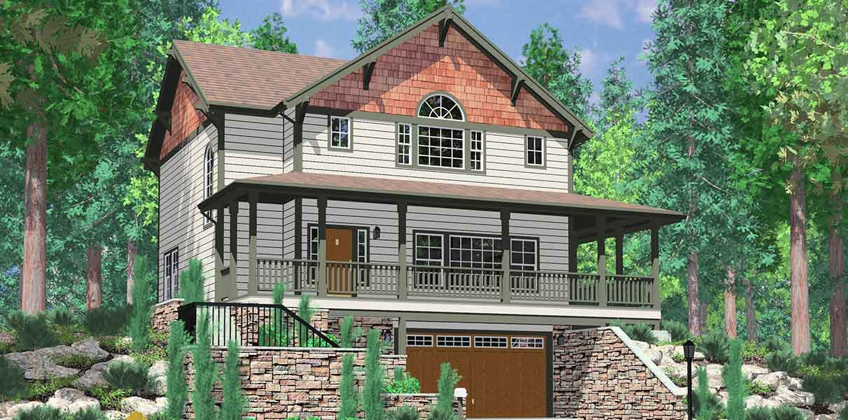 Hillside home plans with basement sloping lot house plans for House plans with wrap around porch and basement