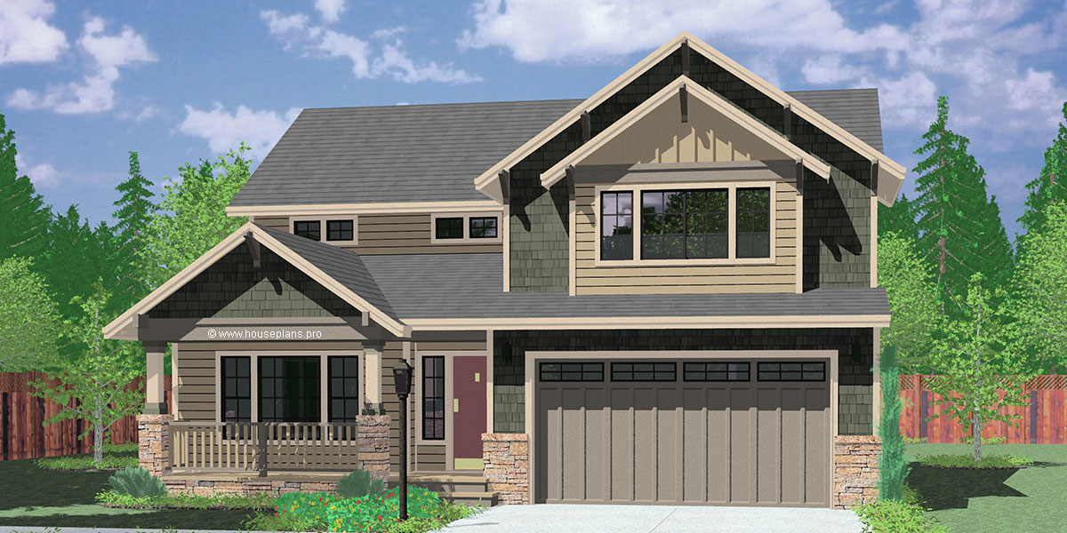 Two story craftsman plan with 4 bedrooms 40 ft wide x 40 for New four bedroom houses