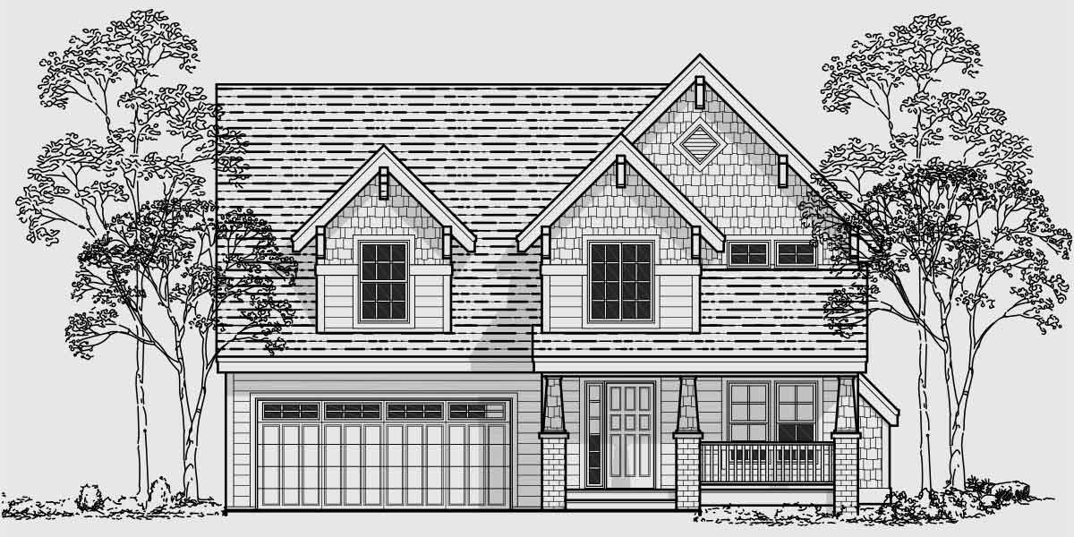 Additional Info for Craftsman house plans, house plans with bonus room over garage, narrow lot house plans, 40 x 40 house plans, 10025