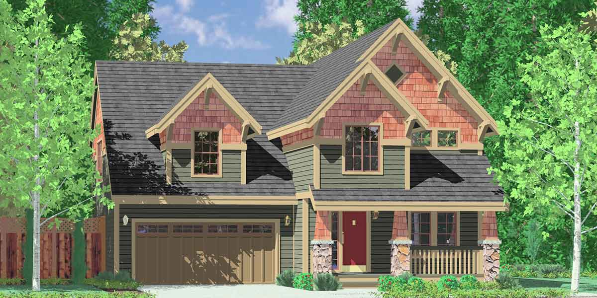 10025 Craftsman house plans, house plans with bonus room over garage, narrow lot house plans, 40 x 40 house plans, 10025