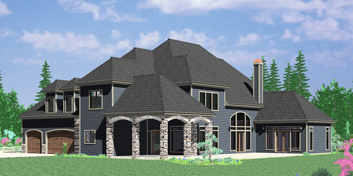 House Front Drawing Elevation View For 10090 Luxurious House Plans Master  On The Main Floor Plans