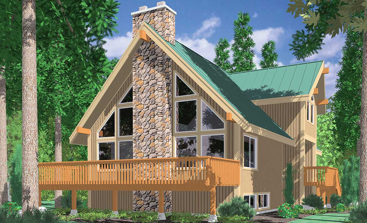 3683 A Frame House Plans, Vacation House Plans, Masonry Fireplace, Wall Of