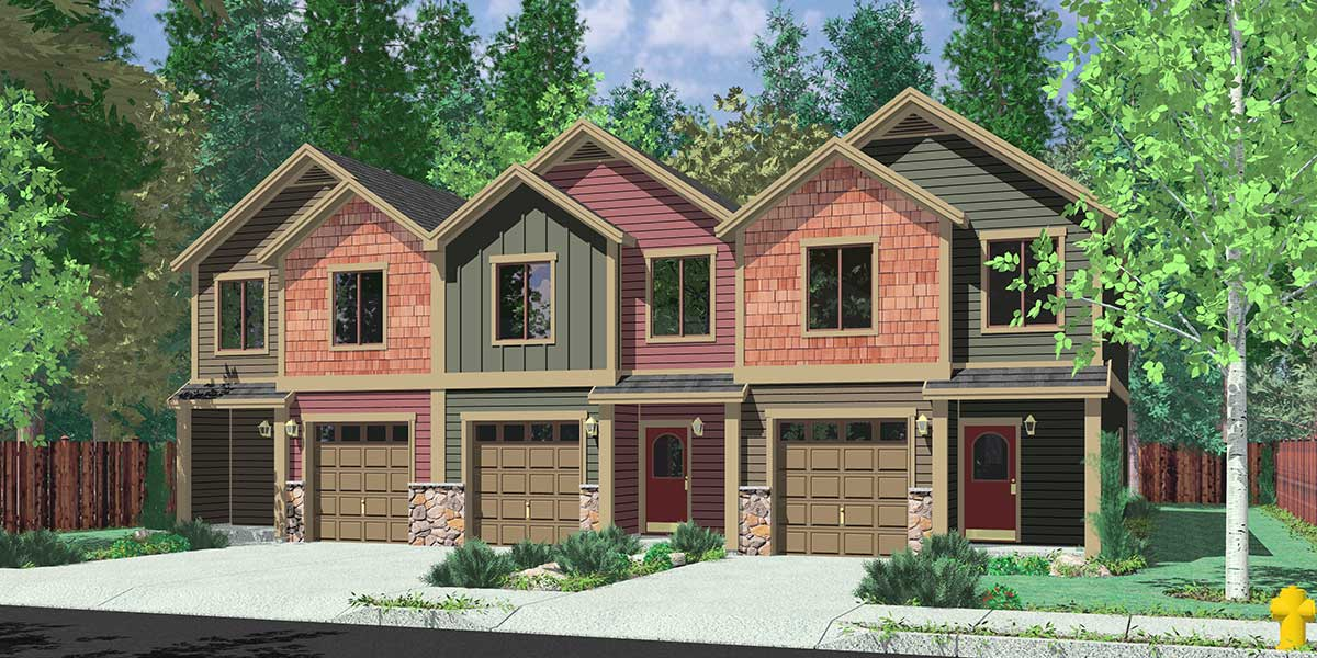 House front color elevation view for T-401 Triplex House Plans, Craftsman Exterior, Row House Plans, T-401