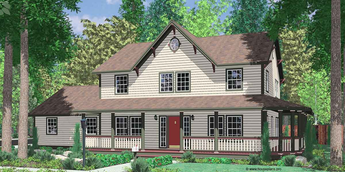 Country Farm House Plans, House Plans With Wrap Around Porch, 999
