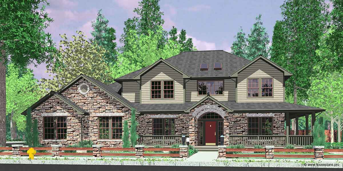 House Front Color Elevation View For 10045 Traditional House Plan Features  Wrap Around Porch, Kitchen