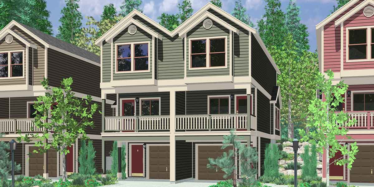 D-519 Narrow lot townhouse plans, duplex house plans, 3 level house plans, D-519