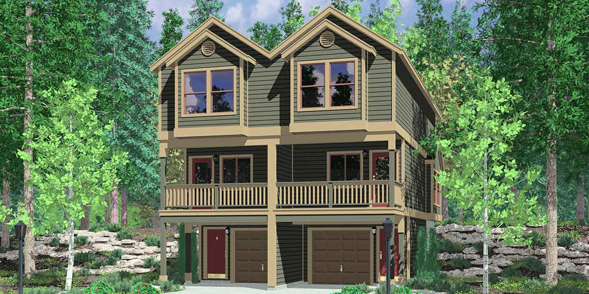 Narrow lot townhouse plans duplex house plans 3 level d 519 for Duplex house plans for narrow lots