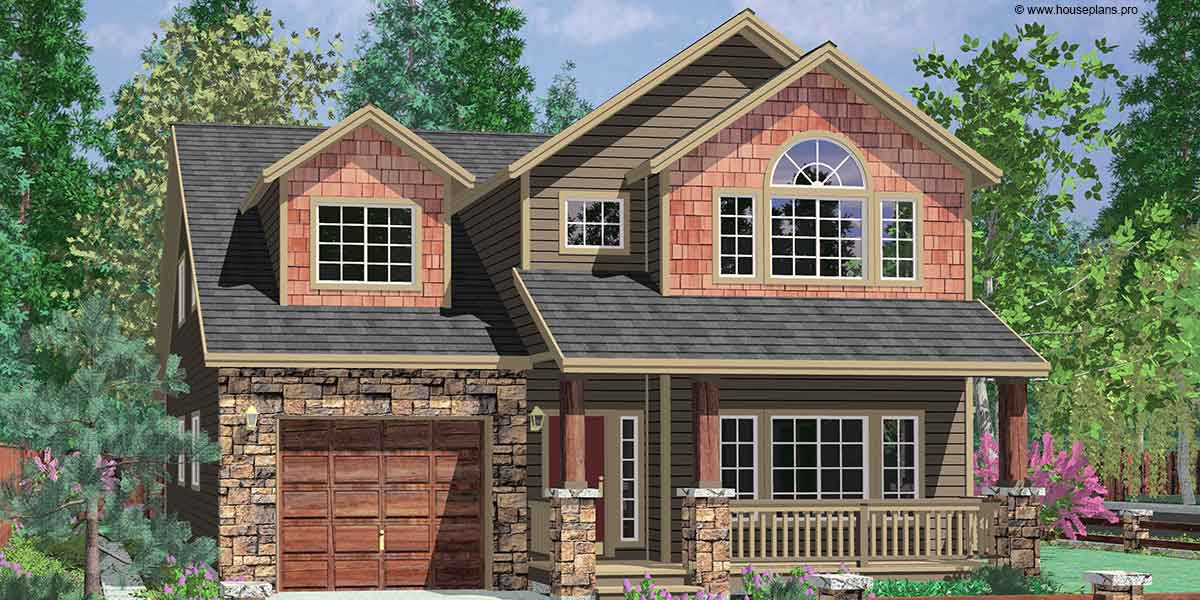 House plans by john tee kousa creek garage duplex house for Narrow house plans with attached garage