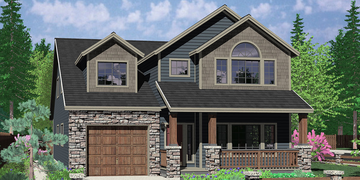 Narrow Lot House Plans Traditional Tandem Garage 3 Bedroom