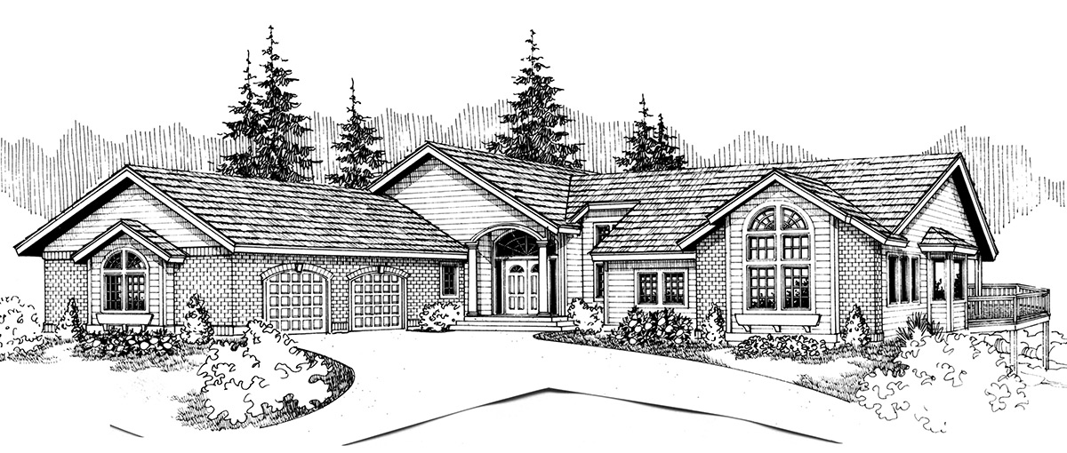 Front view house plans rear view and panoramic view house for Side view house plans