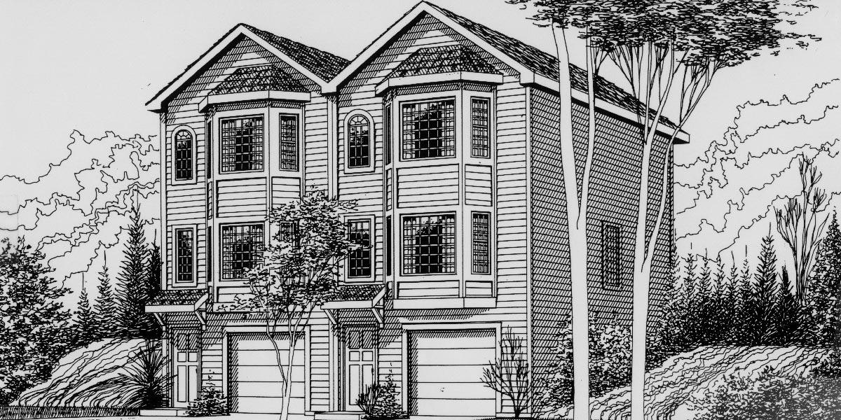 Duplex plans for small lots joy studio design gallery for Townhouse duplex plans