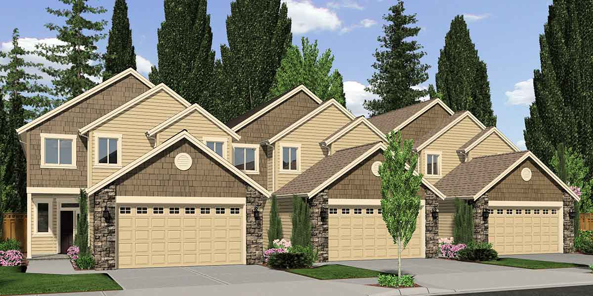 T-392 Triplex plans, master on the main house plans, row home plans, triplex plans with garage, T-392