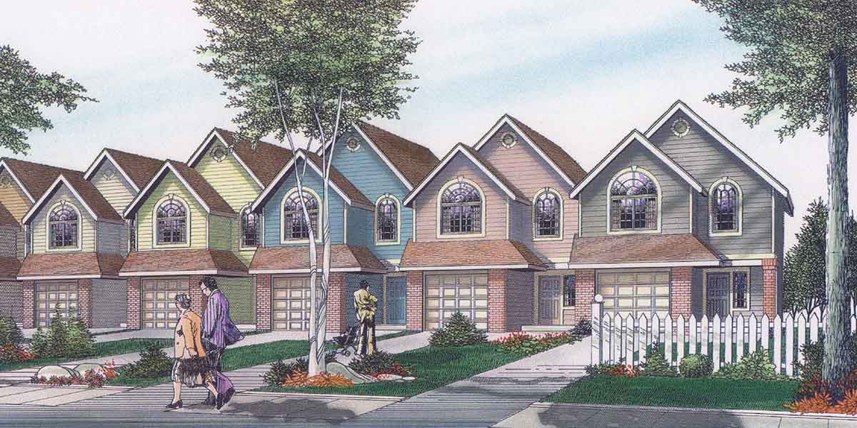 Row house plans 3 bedroom duplex house plans 2 story duplex for Multi family condo plans