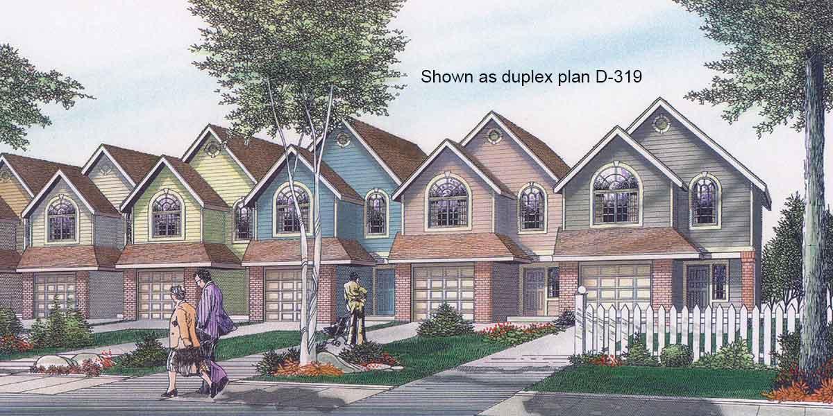 Narrow Lot Multi Family House Plans