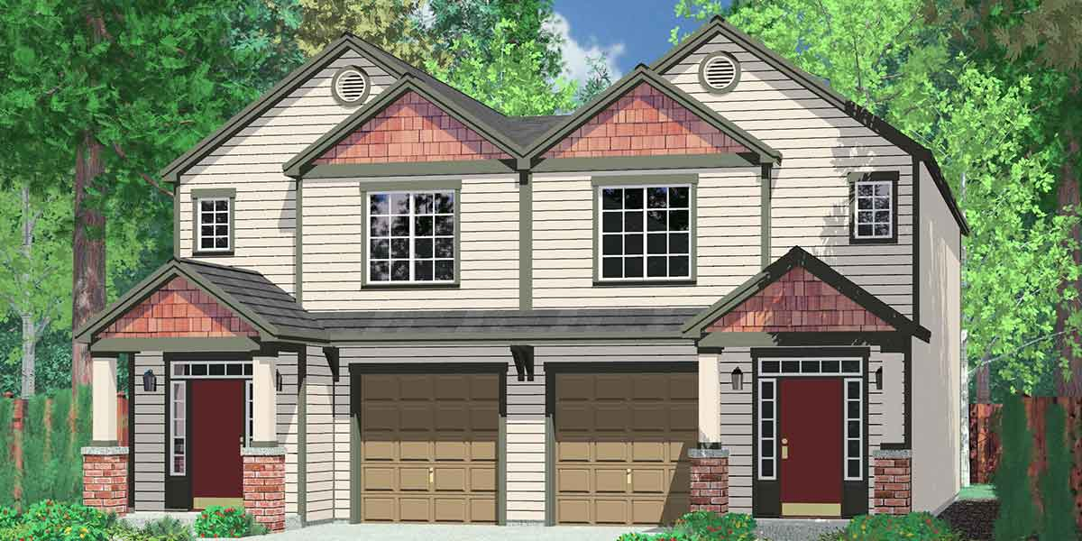 D-473 Duplex house plans, row house plans, D-473
