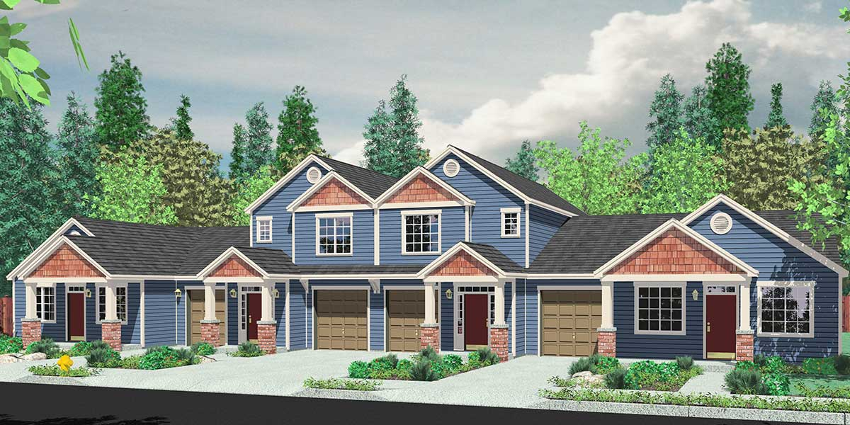 4 plex house plans multiplexes quadplex plans for Modern 4 plex plans