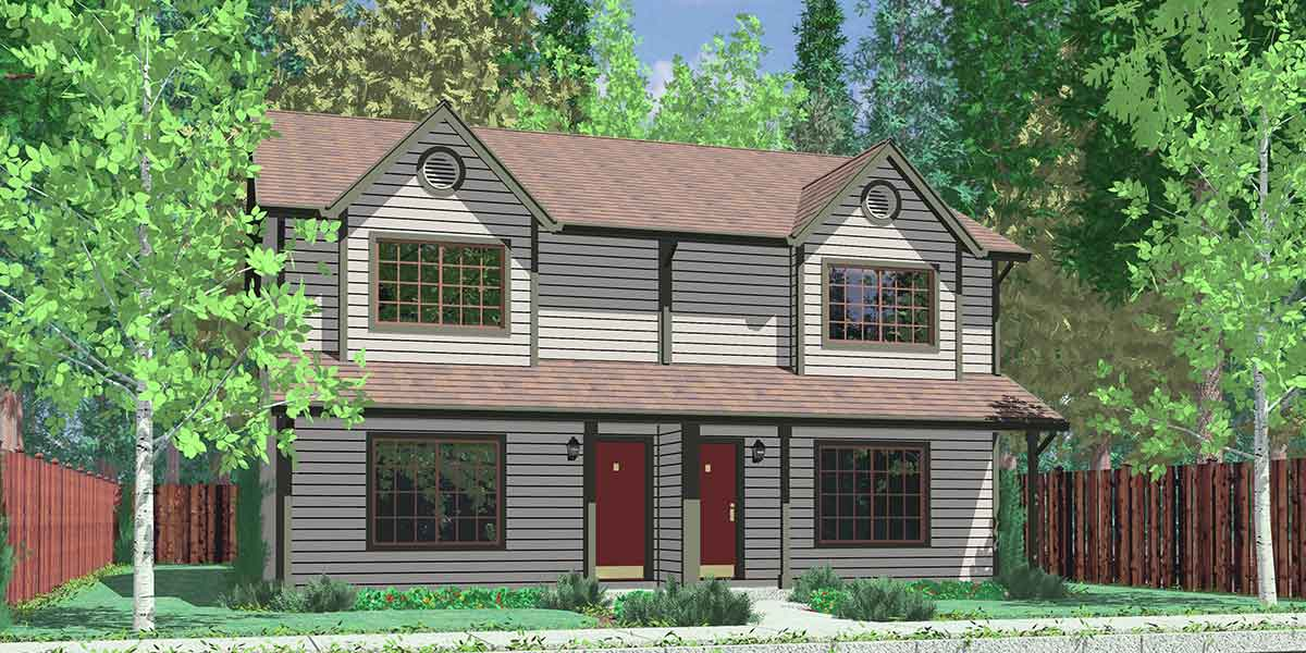 Narrow lot duplex house plans 2 story duplex house plans for Duplex houseplans