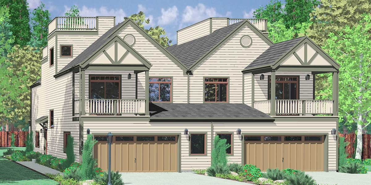 Duplex house plans corner lot duplex house plans narrow lot for Water view home plans