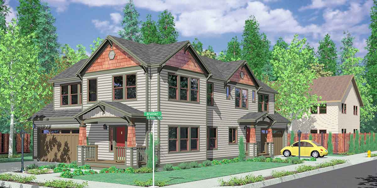 D 444 Corner Lot House Plans, Duplex House Plans, Two Master Suite House