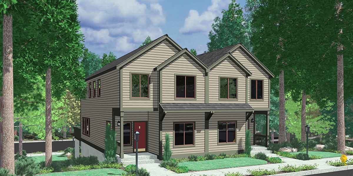 Duplex house plans d 522 sloping lot plans view deck for House plans for view lots