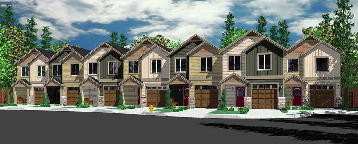 Town house and condo plans multi family and townhome for Row house designs small lots