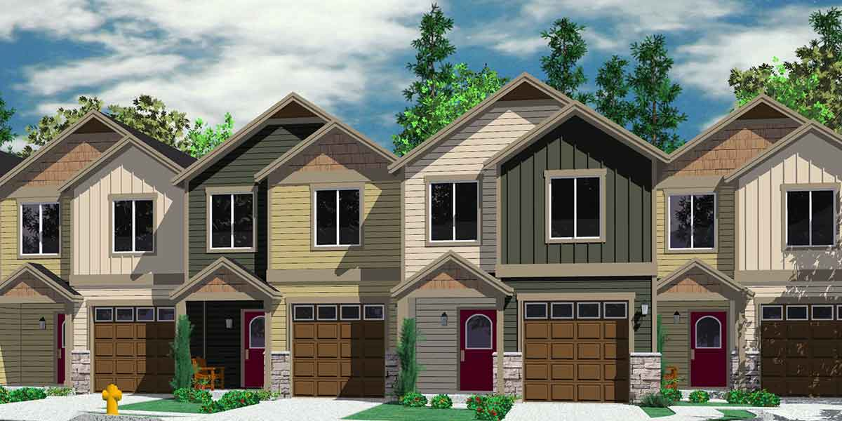 Narrow row house w large master open living area sv 726m for Multi family condo plans