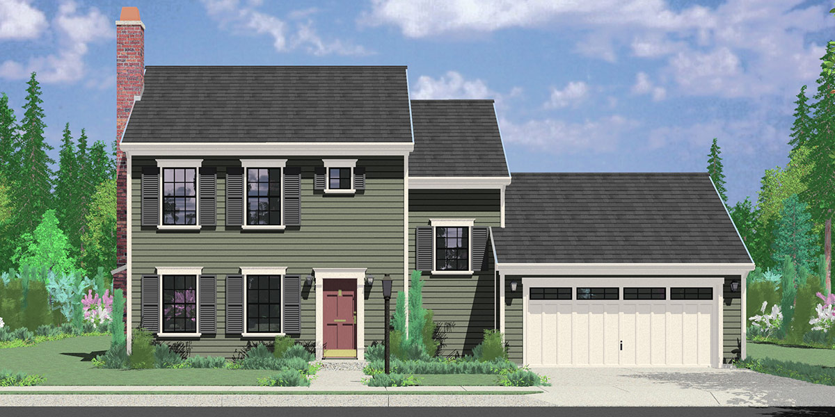 9952 colonial house plan 3 bedroom 2 bath 2 car garage - Simple House Plans