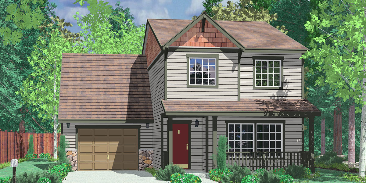 9993 Narrow Lot House Plan 4 bedroom