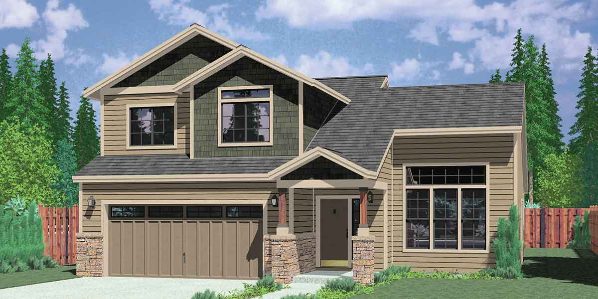 House front color elevation view for 9953 Master on the Main floor plan house plans www.houseplans.pro