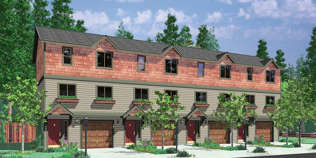 4 Plex Plan, Townhouse Plan, 4 Unit Apartment, Quadplex, F-539