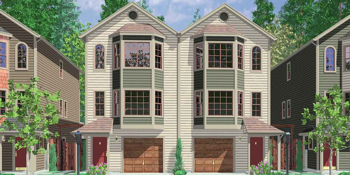 D-487 Narrow row house plans, duplex house plans, two master suite house plans, D-487