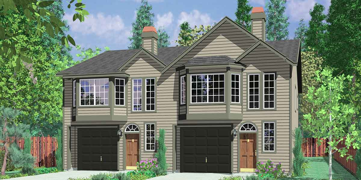 D-384 Duplex house plans, town house plans, reverse living house plans, D-384