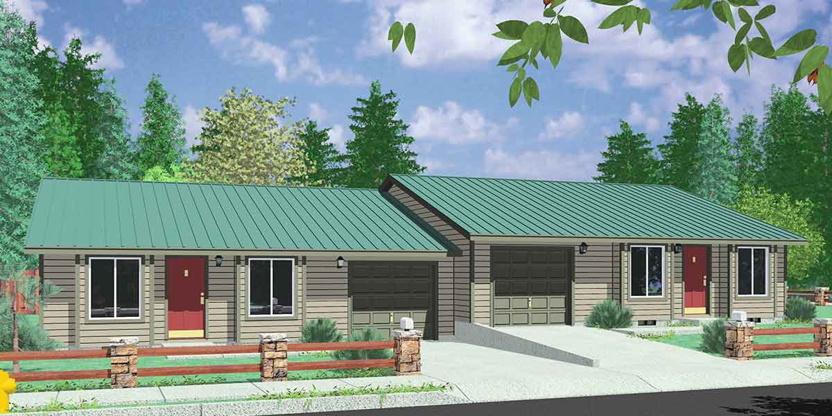 D-410 Single level duplex house plans, 2 bedroom duplex with garage, D-410
