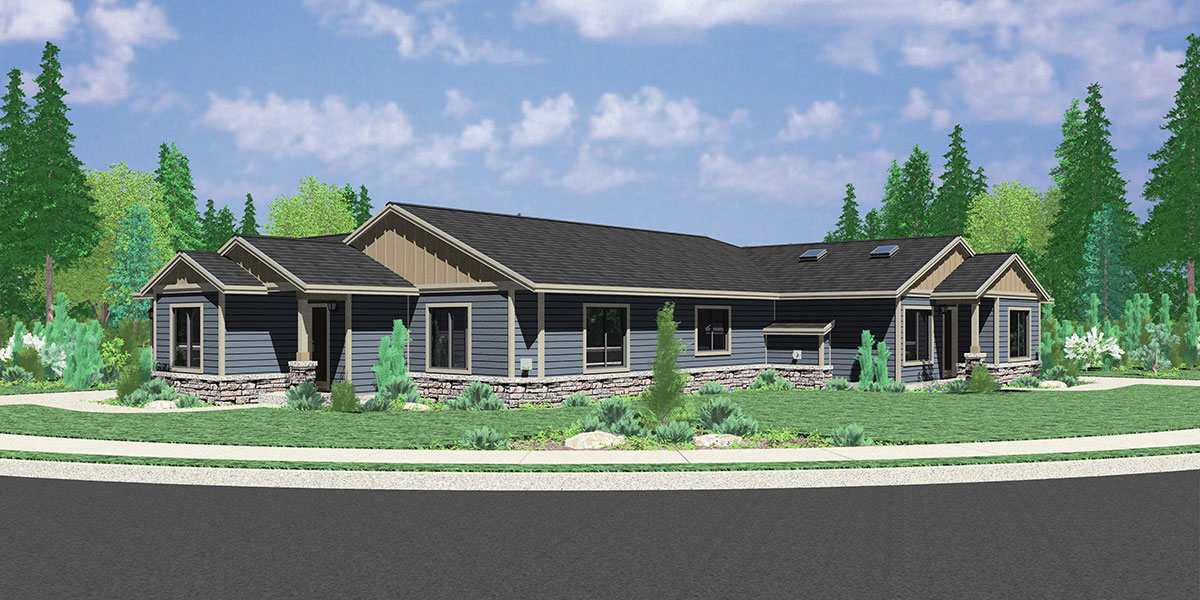 Single story duplex house plan corner lot duplex house for One level ranch home floor plans