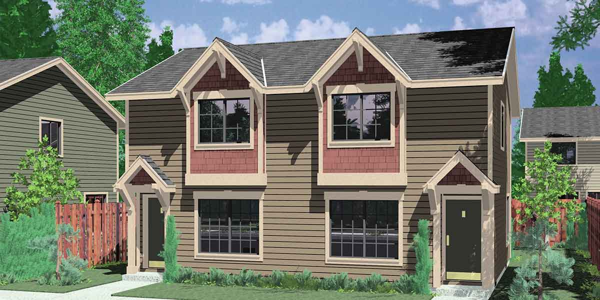 Craftsman style duplex with boxed windows compact floor plan for Small house plans for narrow lots