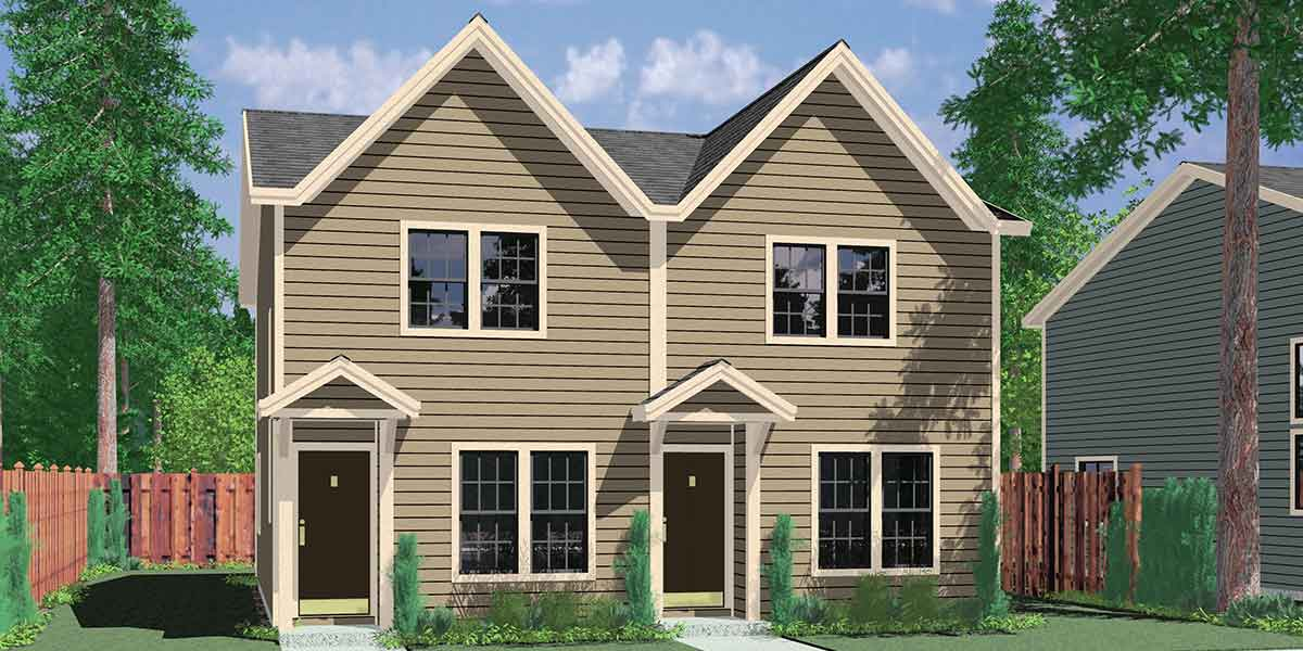 Narrow Small Lot Duplex House Floor Plans Two Bedroom D-341