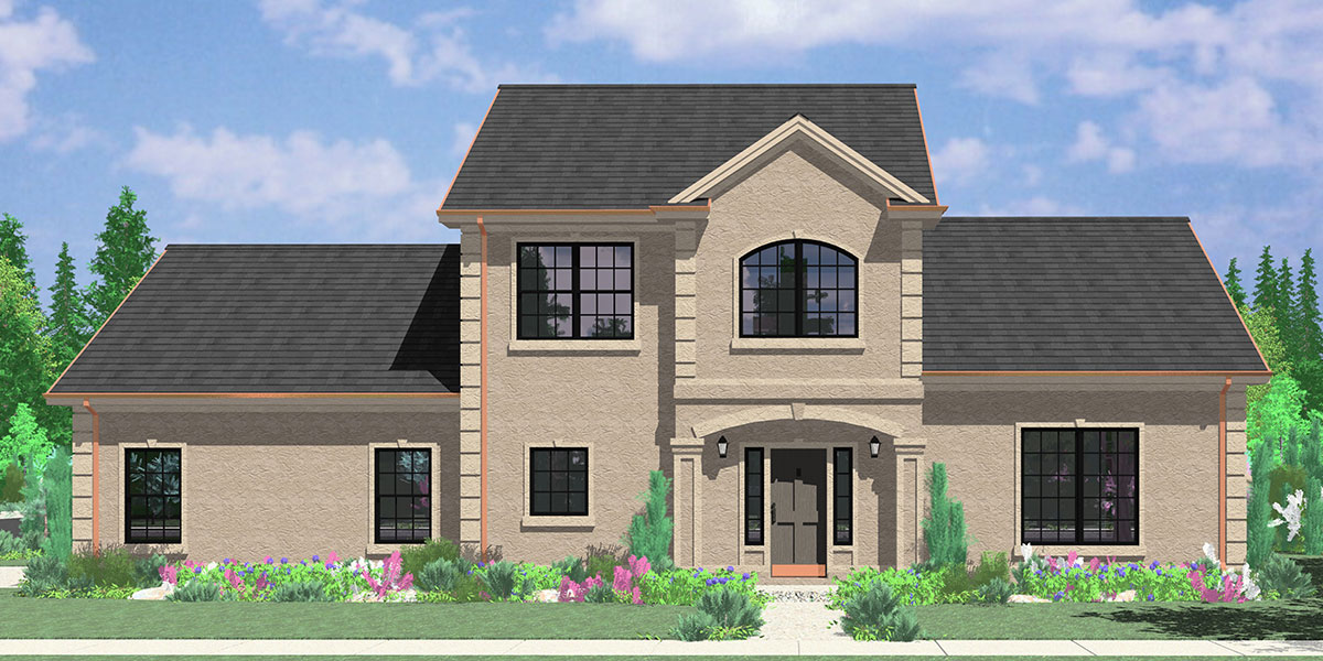 Two story house plans 3 bedroom house plans master on Corner lot home designs