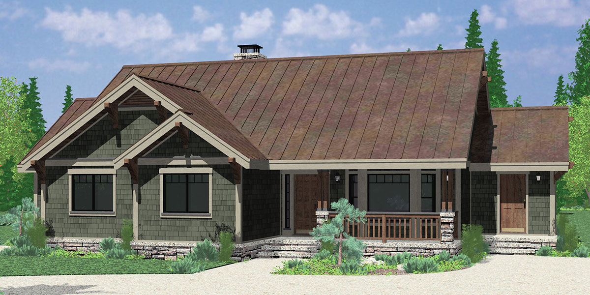 House Front Color Elevation View For 9940 One Level House Plans, Single  Level Craftsman House