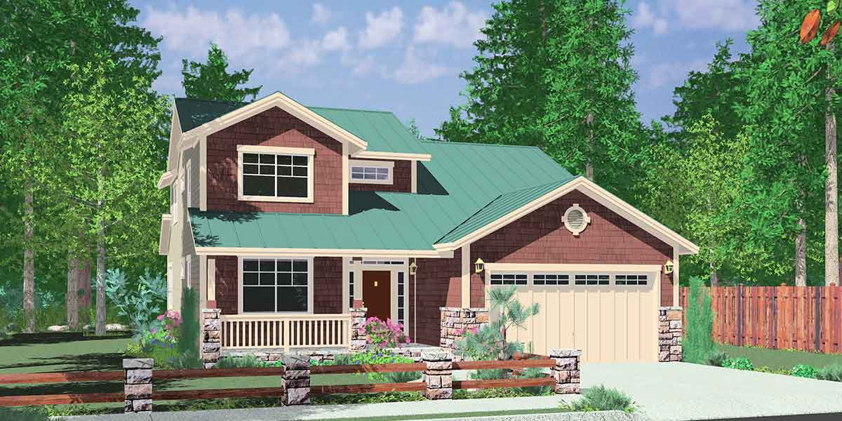 40 Ft Wide Narrow Lot House Plan W/ Master On The Main Floor.